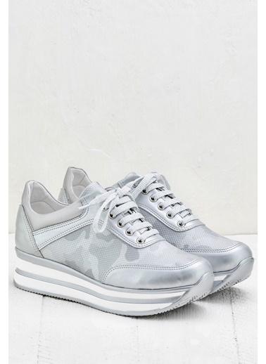 Elle Dolgu Tabanlı Sneaker Ayakkabı Gümüş